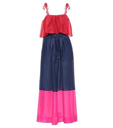 Cotton and silk maxi dress