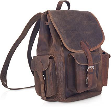 "Amazon.com | KomalC 15"" Vintage Genuine Buffalo Leather Backpack Rucksack Travel Bag College BagSALE | Backpacks"