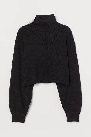 Cropped Turtleneck Sweater - Black