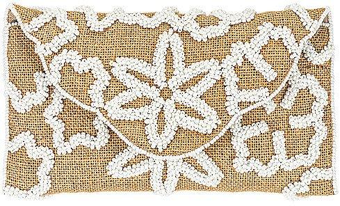 From St Xavier Raffia Flower Foldover Clutch