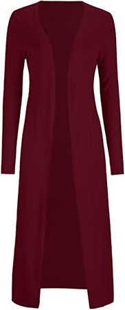 AMGLISE Women's Solid Cotton Essential Long Cascading Open Front Cardigan at Amazon Women's Clothing store