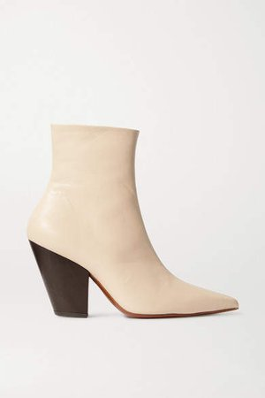 Pack Leather Ankle Boots - Beige