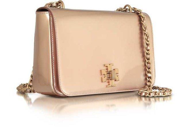 Tory Burch Mercer Rose Gold Metallic Leather Adjustable Shoulder Bag at FORZIERI