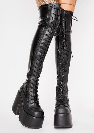 Demonia Camel-300 Thigh High Chunky Heel Platform Boots   Dolls Kill