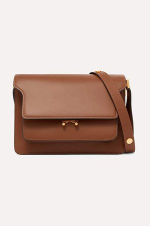 Trunk Leather Shoulder Bag - Tan