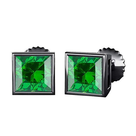 Amazon.com: tusakha Bezal Set Princess Cut Created Green Emerald (4MM) Solitaire Stud Earrings 14K Black Gold Over .925 Sterling Silver: Jewelry
