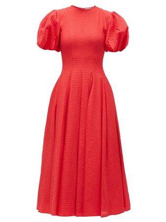 Doreen puff-sleeve seersucker midi dress | Emilia Wickstead | MATCHESFASHION UK
