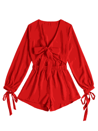 Plunging Neck Bowknot Cut Out Romper RED: Jumpsuits & Rompers L | ZAFUL