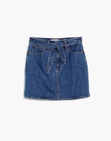 Rigid Denim Straight Mini Skirt in Haydel Wash: Tie-Waist Edition