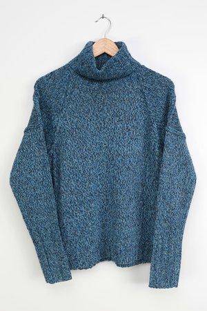 Blue Turtleneck Sweater - Blue Multi Sweater - Multi Knit Sweater - Lulus