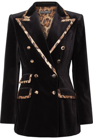 Dolce & Gabbana | Leopard-print satin-trimmed cotton and silk-blend velvet blazer | NET-A-PORTER.COM