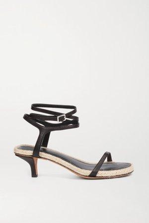 Yasmine Leather Espadrille Sandals - Black