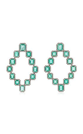 18k White Gold Emerald, Diamond Earrings By Goshwara   Moda Operandi