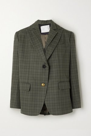Sacai | Layered checked wool-blend and cotton blazer | NET-A-PORTER.COM