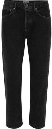 AGOLDE - Parker Cropped Organic High-rise Straight-leg Jeans - Black
