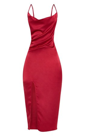 Rose Strappy Satin Cowl Midi Dress | PrettyLittleThing USA