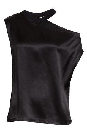 RtA Axel Cutout One Shoulder Silk Satin Top | Nordstrom