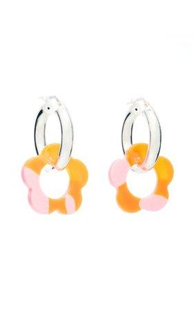 Acrylic Daisy And Sterling Silver Hoop Earrings By Pina Jewels | Moda Operandi