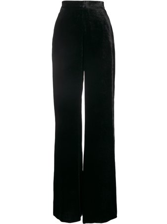 Shop black Etro velvet wide-leg trousers with Express Delivery - Farfetch