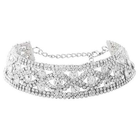 Silver Rhinestoned Hollow Choker Necklace