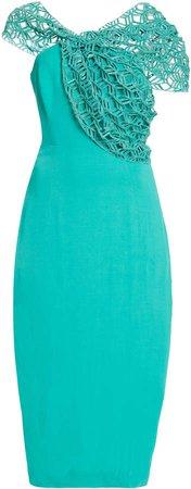 Aliette Asymmetric Crepe Midi Dress