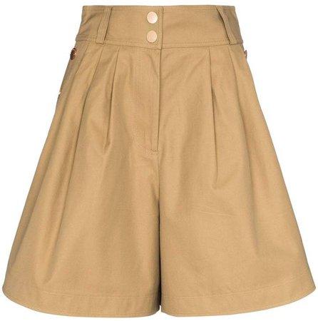high-waisted button shorts