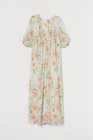 Long V-neck Dress - White