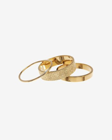Sterling Forever Set Of 3 Textured Stack Rings