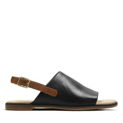 Bay Jasmine Black and Tan Leather - Womens Flat Sandals - Clarks