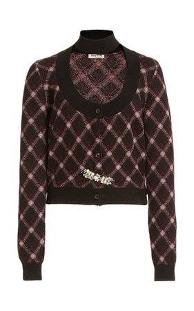Embellished Cutout Plaid Wool Cropped Cardigan By Miu Miu | Moda Operandi