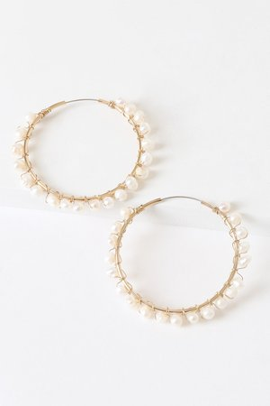 Gold Hoops - Pearl Hoop Earrings - Gold and Pearl Hoops - Lulus