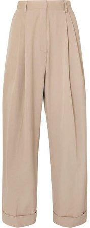 Pleated Cotton-poplin Wide-leg Pants - Beige