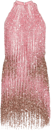 pink & gold sequin dress