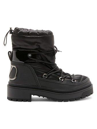 Valentino Garavani Trekkgirl Leather Combat Boots   SaksFifthAvenue