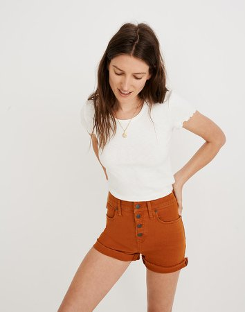 High-Rise Denim Shorts: Garment-Dyed Button-Front Edition