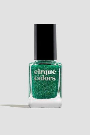 Green Jelly Holographic Flake Nail Polish - Cirque Colors Emerald