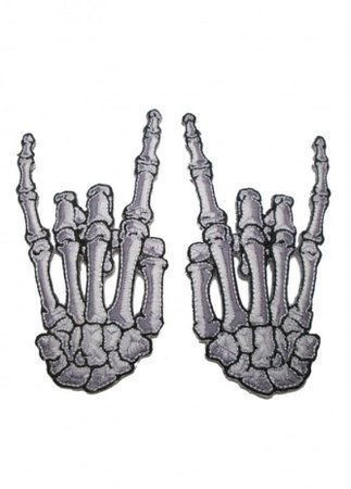 Kreepsville 666 Skelli Hand Devil Bone Patch Pair | Attitude Clothing