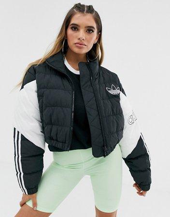 adidas Originals cropped puffer jacket in black | ASOS