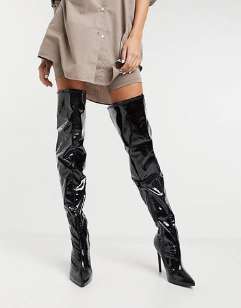ASOS DESIGN Wide Fit Kendra stiletto thigh high boots in black patent | ASOS