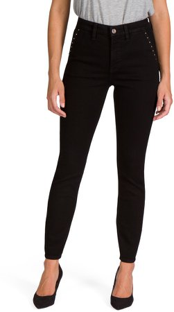 Stud Pocket Ankle Skinny Jeans
