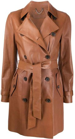 Desa 1972 Double Breasted Leather Trench Coat