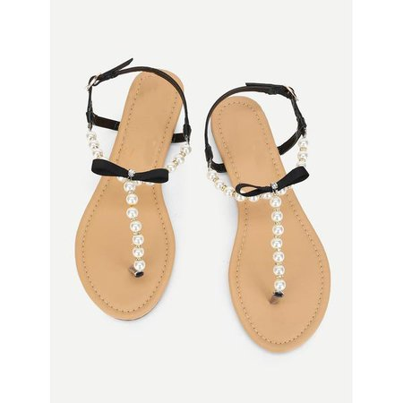 Sandals | Shop Women's Black Faux Pearl Flat Sandals With Bow at Fashiontage | f8611b2f-0-size-eur36-color-black