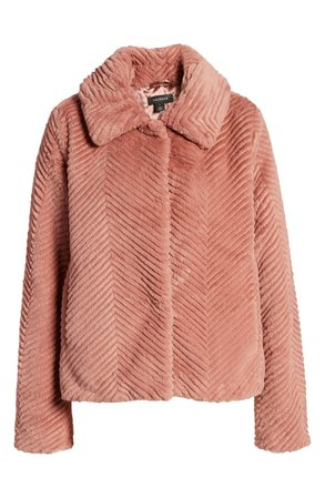 Halogen® Chevron Faux Fur Coat   Nordstrom