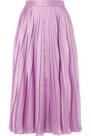 Pleated satin-twill midi skirt I Co I $397,50