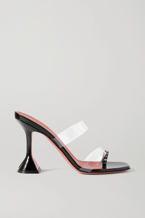 Sami Crystal-embellished Patent-leather And Pvc Sandals - Black