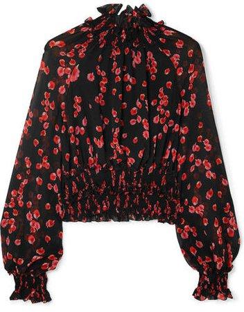 Ruffled Floral-print Silk-crepe Top - Black