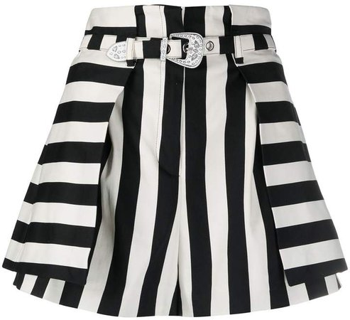 striped flared shorts