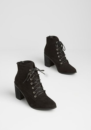 Straight Outta Salem Lace-Up Bootie in Black | ModCloth