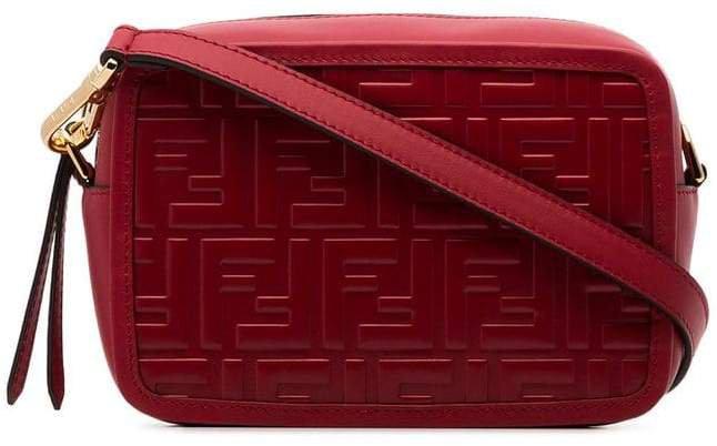 red logo embossed mini leather camera bag