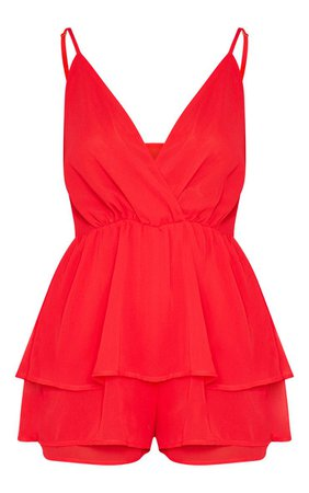 Red Frill Layer Playsuit | PrettyLittleThing
